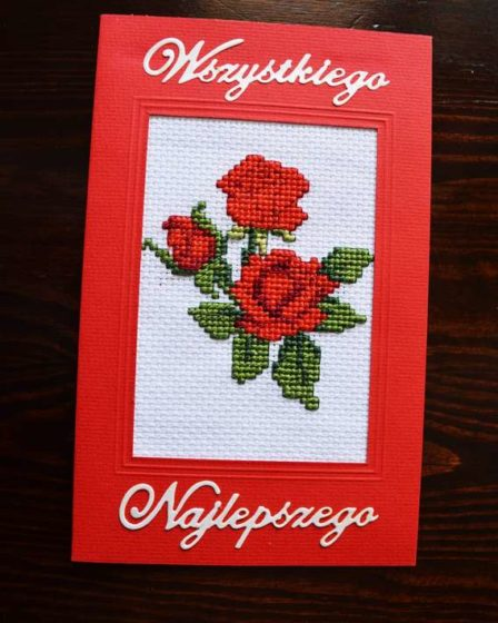 cytrulinahandmade.pl haft krzyżykowy kartka z różą 00006