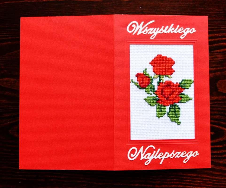 cytrulinahandmade.pl haft krzyzykowy 00008 - Urodzinowe czerwone róże